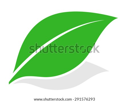 Green leaf logo at a diagonal angle with a shadow isolated on white for eco, bio, spa and nature themed concepts, vector illustration - stock vector