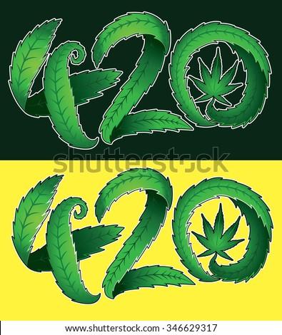 green leaf marijuana cannabis 420 text vector illustration - stock vector
