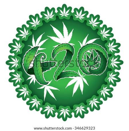 green leaf marijuana cannabis 420 text vector illustration stamp - stock vector