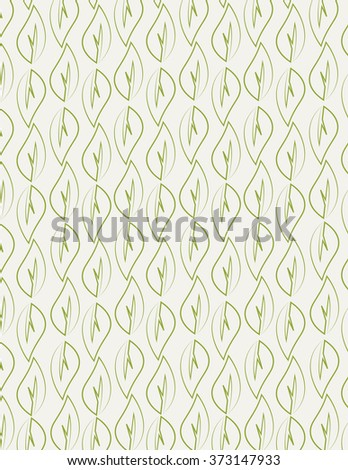 Green leaf outline pattern over white background - stock vector