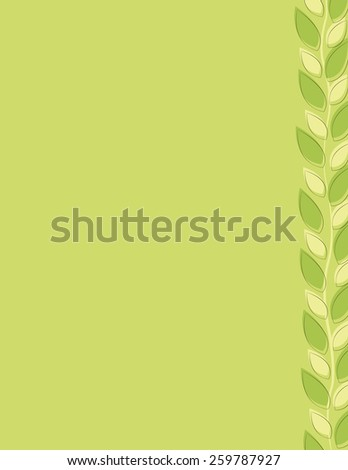 Green leaf repeating pattern border over green background - stock vector