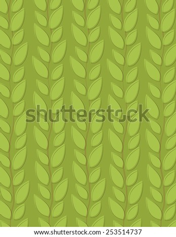 Green leaf repeating pattern over green background - stock vector