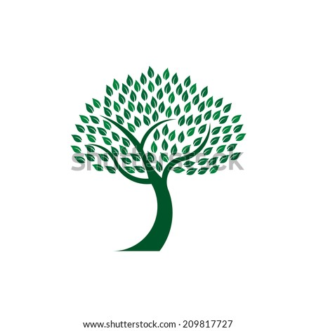 Green leafy tree image. Concept of nature life preservation.Vector icon  - stock vector