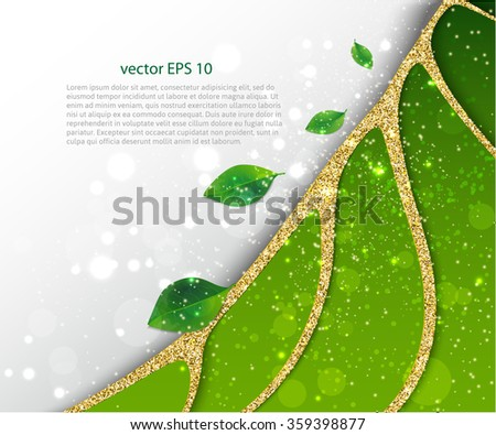 Green leaves abstract background. Green concept. Vector illustration. - stock vector