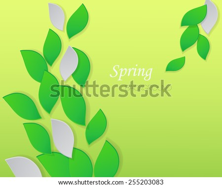 Green leaves background. Abstract spring background with green leaves - stock vector