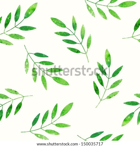 Green leaves background. Seamless pattern. - stock vector