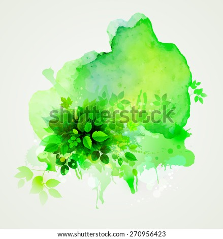 Green leaves composition. Watercolor abstract. - stock vector