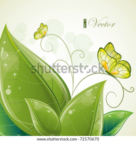 Green leaves design with butterfly, eps-10 - stock vector