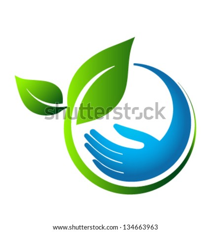 Green leaves eco hand - stock vector