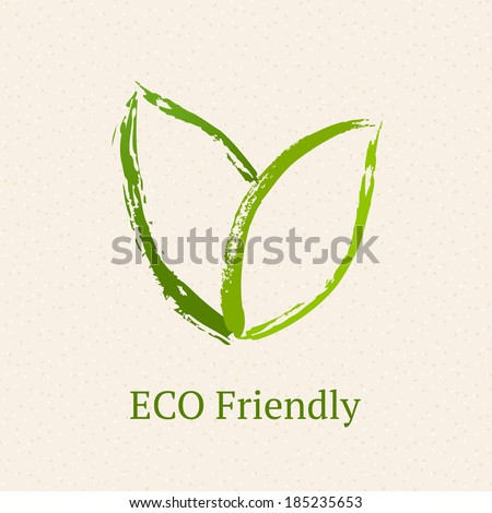 Green leaves. Ecology icon. - stock vector