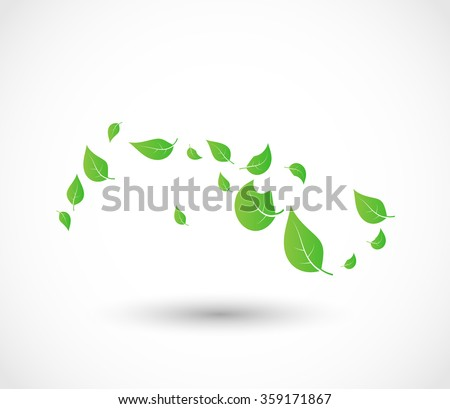 Green leaves flying with the wind vector - stock vector