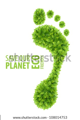 Green leaves footprint . Eco Friendly Vector illustration. - stock vector