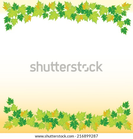 Green leaves frame isolated on white background vector - stock vector