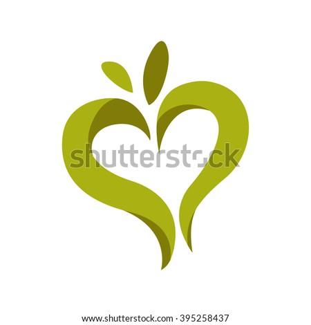 Green leaves heart. Eco logo. Floral design element. - stock vector
