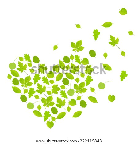 Green leaves heart symbol vector background ecology concept - stock vector