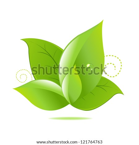 Green Leaves Icon Isolated On White Background, With Gradient Mesh, Vector Illustration - stock vector