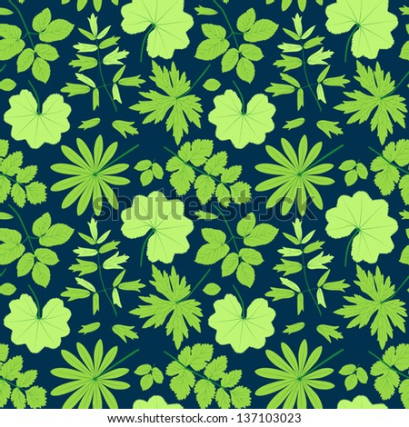 Green leaves seamless pattern.On the blue. Summer vector background. - stock vector