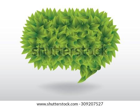 Green leaves speech bubble vector illustration - stock vector
