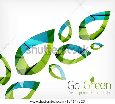 Green leaves spring nature design concept - stock vector