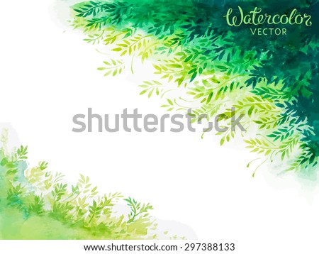 green leaves watercolor background - stock vector