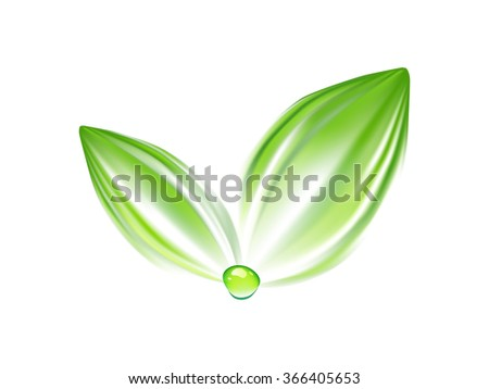 Green leaves with water drop logo. Eco logo. Abstract green energy identity. Ecology logotype. Nature icon vector illustration.  - stock vector
