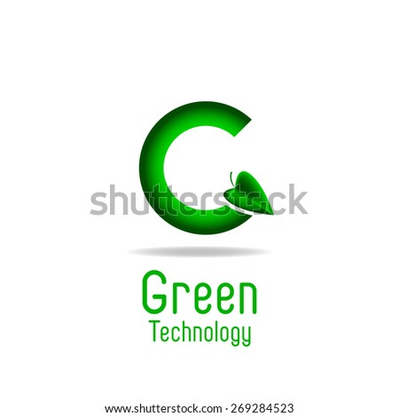 Green letter G and leaf, eco technology logo, mockup ecology poster - stock vector