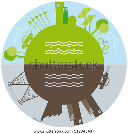 Green life against pollution - stock vector