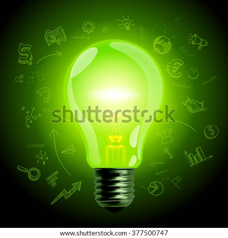 Green light bulb on hand drawn business icons background. Business idea symbol and business concept. Vector illustration. EPS 10