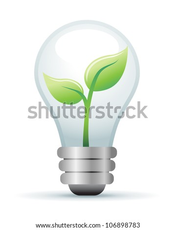 Green Lightbulb Illustration - stock vector