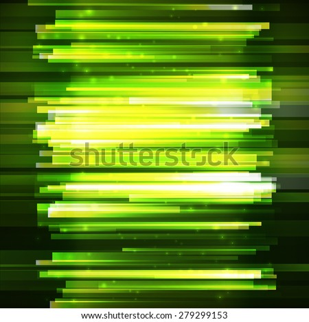 Green lighting lines, vertical oriented banner. Abstract green vector background. Lighting effect banner. Summer presentation template. - stock vector