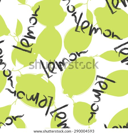 Green lime and lemon fruits on white background. Citrus seamless silhouette vector pattern. Lemon typography word - stock vector