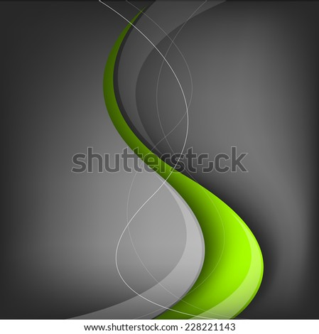 Green line background on black space grey background overlap layer paper for text and message modern design - stock vector
