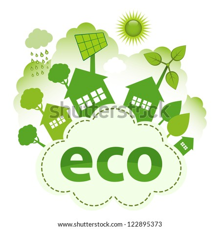 Green living concept. Green city on ECO cloud. - stock vector