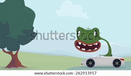 Green lizard cartoon sitting in the car. Vector illustration - stock vector