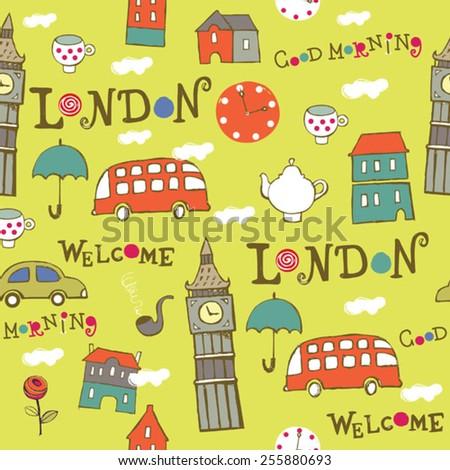 green London hand drawn vector pattern - stock vector