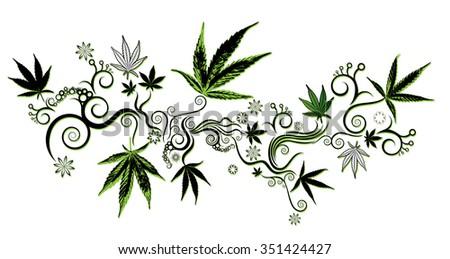 green marijuana cannabis leaf symbol background vector illustration - stock vector