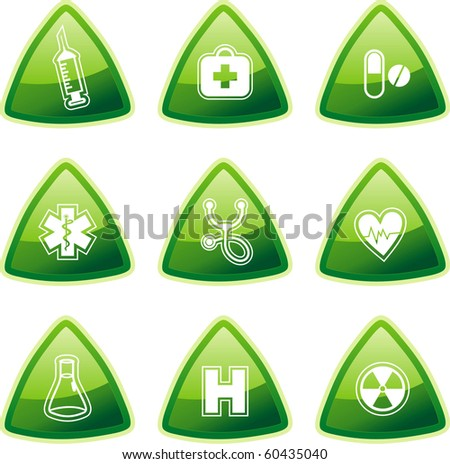 Green medical signs on triangle buttons - stock vector