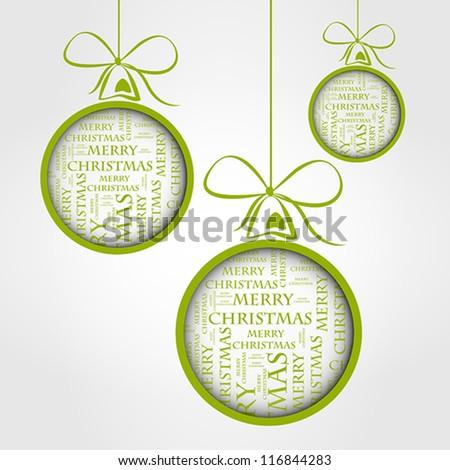 green merry christmas text balls - stock vector