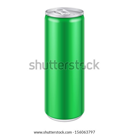 Green Metal Aluminum Beverage Drink Can 250ml. Mockup Template Ready For Your Design. Isolated On White Background. Product Packing. Vector EPS10 Product Packing Vector EPS10 - stock vector