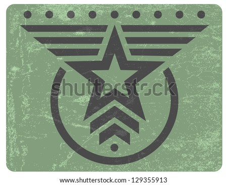 Green military style grunge emblem with gray star - stock vector