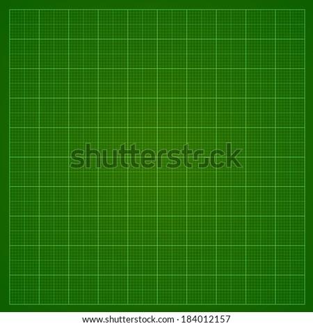 Green millimeter paper or radar or oscillograph screen grid.  Vector background. - stock vector