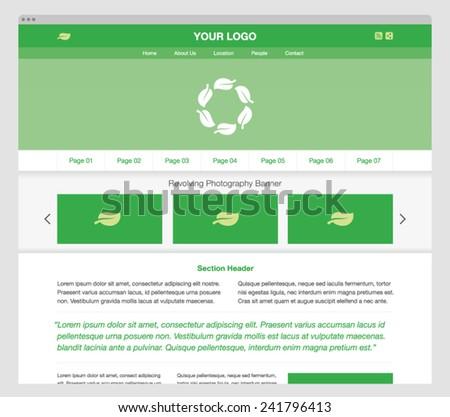 Green modern responsive website template. Editable EPS vector. - stock vector