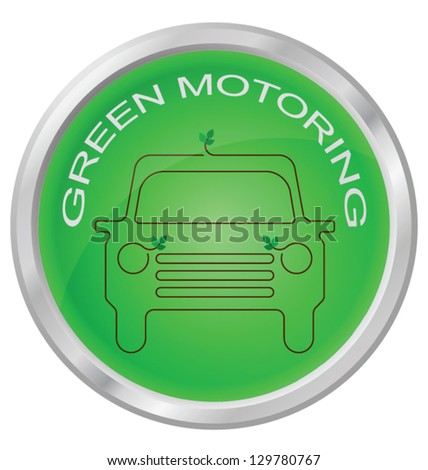 Green Motoring button isolated on white background - stock vector