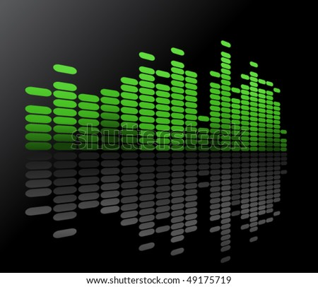 Green music volume - stock vector