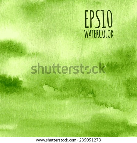 Green nature watercolor gradient abstract vector background. - stock vector