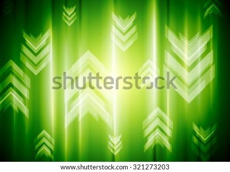 Green neon light with tech arrows. Vector background - stock vector