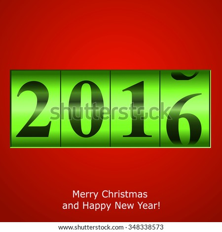 Green New Year counter on red background. Vector eps10 illustration - stock vector