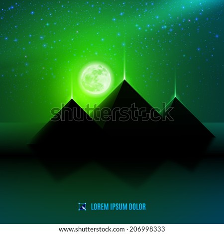 Green night  egypt  desert  fantasy landscape background  illustration with moon, pyramids and stars - stock vector