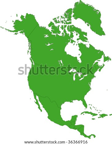Green North America map with country borders - stock vector