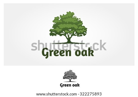 Green Oak Silhouette of a tree, Vector logo design  - stock vector